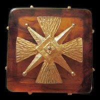 Maltese Cross Tortoise Shell Lucite Brooch