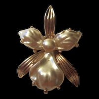 Gorgeous Vintage faux Pearl Orchid Pin Brooch