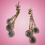 Clear Swarovski Crystal Vintage Pierced Earrings