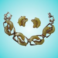 Wonderful Yellow Thermoset Bracelet  Earrings Demi Set