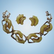 Wonderful Yellow Thermoset Bracelet  Earrings Demi Set