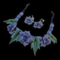 Gorgeous Violet Flower Polymer Clay Vintage Necklace Earrings Set