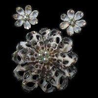 Fabulous  Sea Shell 1950s Hand Made Brooch Pin Earrings