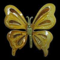 Stunning Vintage Enamel Butterfly Pin 1960s Retro