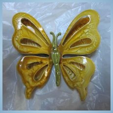 Stunning Vintage Enamel Butterfly Pin 1960's Retro