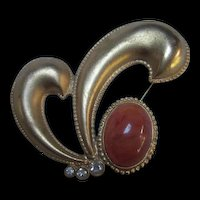 Vintage Bold Abstract Modernist Paisley Amber colorCabochon Statement Brooch Pin Signed