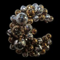 Crescent Moon Gold  Silver Faceted Swarovski Hand Wired  Brooch