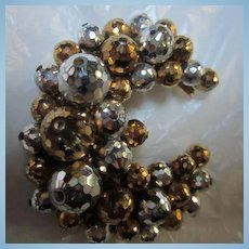 Fabulous Crescent Moon Gold & Silver colored Faceted Swarovski Beads Hand Wired Vintage Brooch Pin