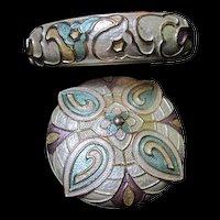Gorgeous Guilloche Enamel Brooch Bracelet Demi Parure Set