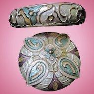 Gorgeous Guilloche Enameled Pin and Bangle Bracelet Vintage Demi Parure Set