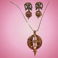 Christmas Ornament Red Green Enamel Rhinestone Vintage Necklace Earrings Set Demi Parure