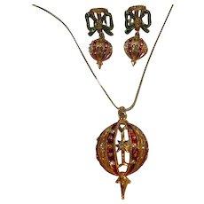 Christmas Ornament Enamel Necklace Earrings Set