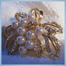 Gorgeous Quality Vintage Crystal Pearl Brooch/Pin