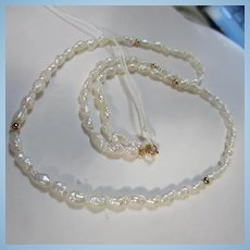 "14K 18"" Genuine Freshwater Pearls and Gold Beads"
