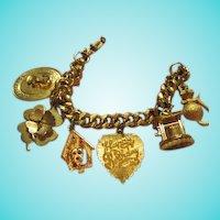 Charm Bracelet 1950's with 6 Wonderful Charms