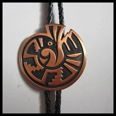 Native American Copper Leather Bolo Tie