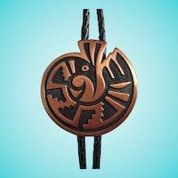 Native American Copper Leather Bolo Tie