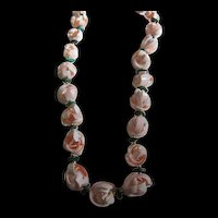 Natural Seashell Malachite  Flower Lei Necklace