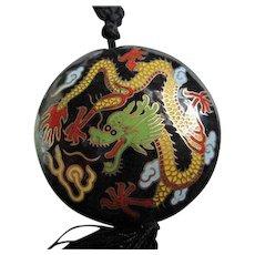 Gorgeous Chinese  Dragon Cloisonne Vintage Pendant Black Silk Cord