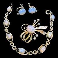 Van Dell Signed fx Opal Bracelet Brooch Pendant Earrings Parure