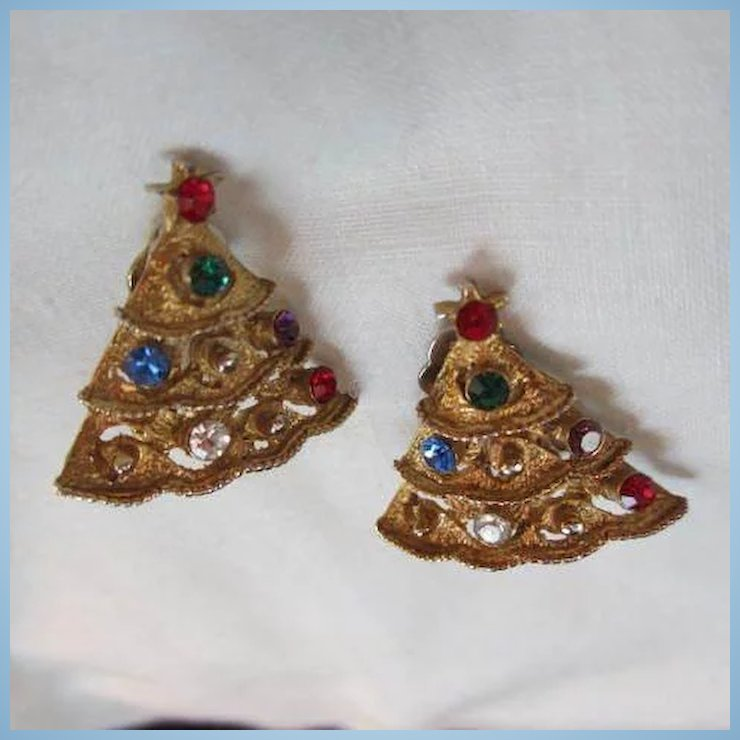 Vintage Jeweled Christmas Tree Earrings : Tiger Lily Emporium | Ruby ...