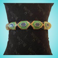 Vintage Enamel Geometric Bangle Bracelet