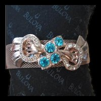 Beautiful Retro Aquamarine Mesh Bracelet