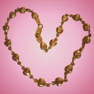 14K Gold Heart Ankle Bracelet NOS Be MY Valentine Vintage Anklet