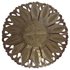 Vintage Bethlehem Hand Carved Mother of Pearl Flower Brooch/Pin