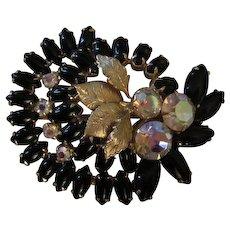 Gorgeous Black Tiered Aurora Borealis Stones Brooch