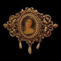Signed ART Victorian Portrait Brooch