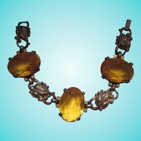 Lovely Older Citrine Glass Vintage Bracelet
