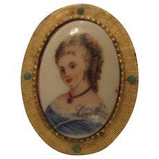 Hattie Carnegie Limoges Portrait Brooch France