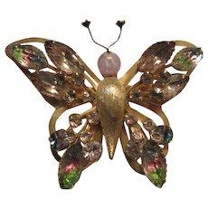 Selini  Signed Iris Glass Rhinestone Butterfly Figural Vintage Brooch Pin