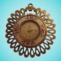 Rare Coro Guilloche Pendant Wind up Watch