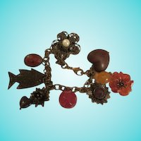 Antiqued Bronze Charm Bracelet 8 Charms