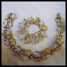 Sarah Coventry Flirtation Vintage Bracelet & Brooch Demi Parure Signed