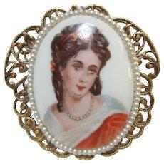 Limoges Portrait Victorian Revival Brooch Pendant