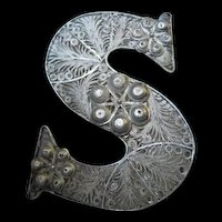 Intricate & Stunning Sterling Silver Letter S Handmade Filagree Vintage Brooch Pin