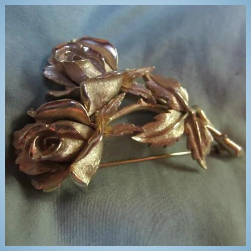 Boucher Black Flower Rose Pin Brooch Signed Numbered: Marcel Boucher Exquisite Double Rose Pin Signed & Numbered