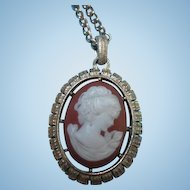 Unique Double sided Cameo Pendant on Chain Vintage Necklace