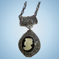 Fabulous Double sided Cameo Sterling Silver Marcasite Pendant Mother of Pearl Italy