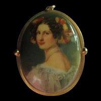 Porcelain Portrait Fabulous Elegant  Pendant