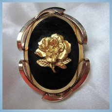 Gold Rose Cameo on Black Glass in Unique Frame Victorian Revival Vintage Brooch Pin