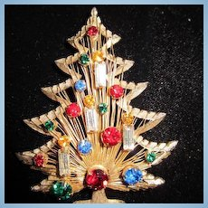 Brooks signed Larger 4 Candle Harp Vintage Christmas Tree Pin Brooch