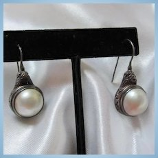 Gorgeous Mobe Pearl Sterling Silver French Wire Earrings