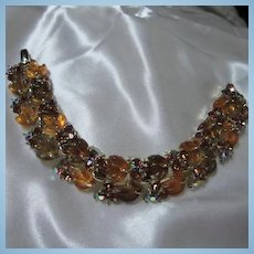 Rare Stunning Lisner Carved Lucite Amber Carved Fruit Salad type Leaves Vintage Bracelet