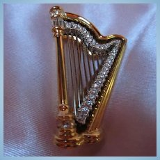 Gorgeous Swarovski Gold Plated Harp Vintage Brooch/Pin Signed Swan