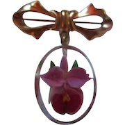 Reverse Carved Orchid in Lucite Vintage Bow Pin