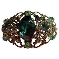 Czechoslovakia Signed Emerald Green Austrian Crystal 1930s  Brooch